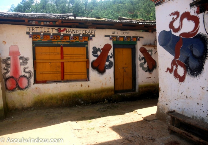 I Heard Female Giggles As I Was Concentrating On Taking Pictures And Videos Of Huge Phallic Signs On The Walls Of Bhutanese Homes