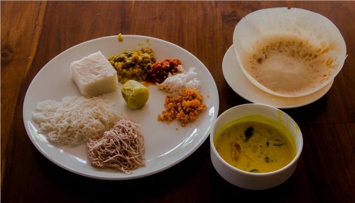 Milk Rice aka kiribath, idiyappam aka styring hoppers, kiri hodi. India Sri Lanka Vegan Food