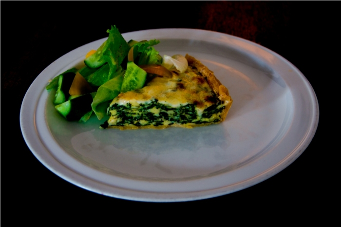 Spinach and cheese quiche at Barefoot cafe. India Sri Lanka Vegan Food