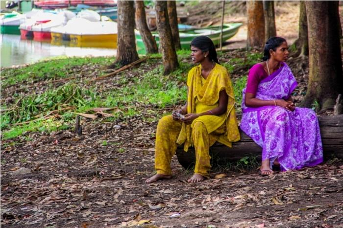 Locals at Kundala lake Tea Garden Munnar Kerala Incredible India