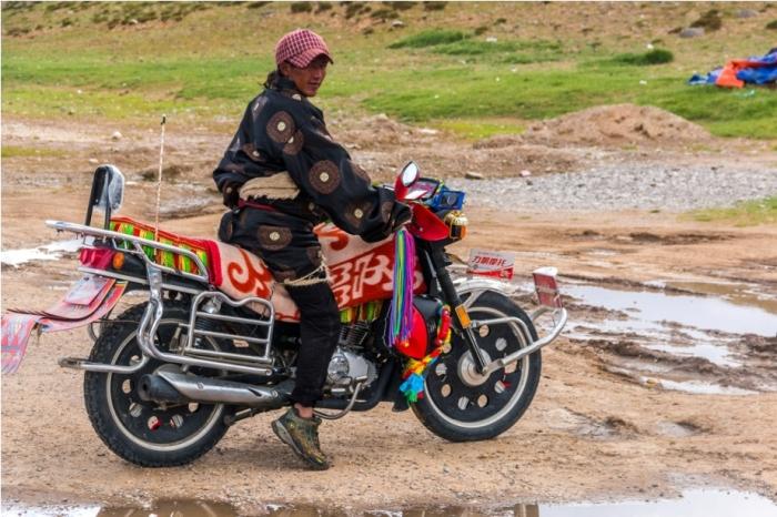 Local Tibetan bike Kailasha Mansarovar Parikrama China Tibet