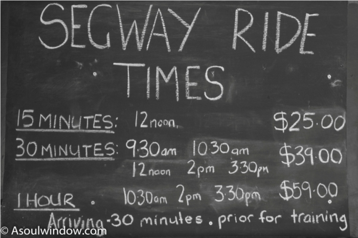 Segway rate list Lake Burley Griffin Canberra Australia