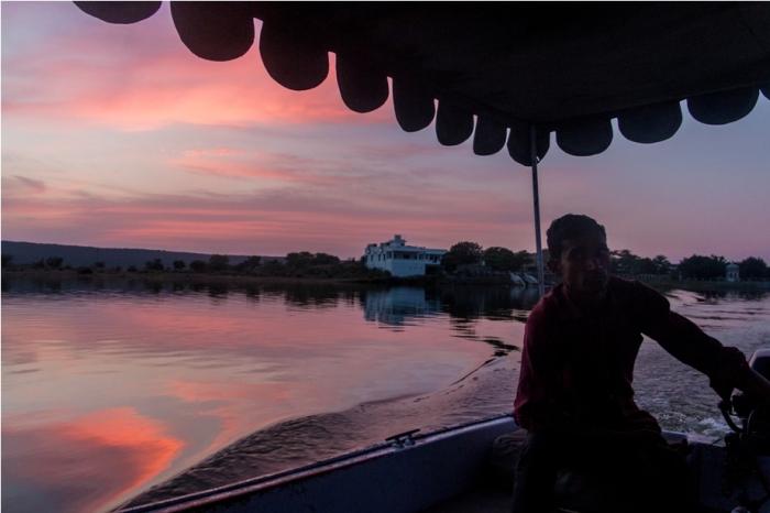 Justa Lake Nahargarh Palace, Chittorgarh Rajasthan India boat