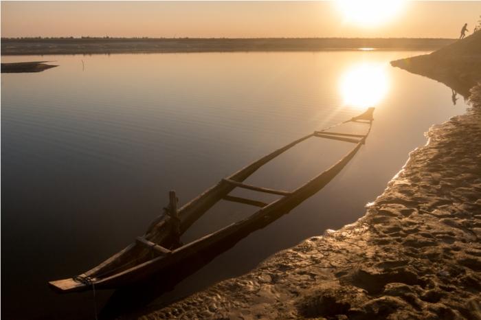 Boat Sunset Majuli River Island Assam India