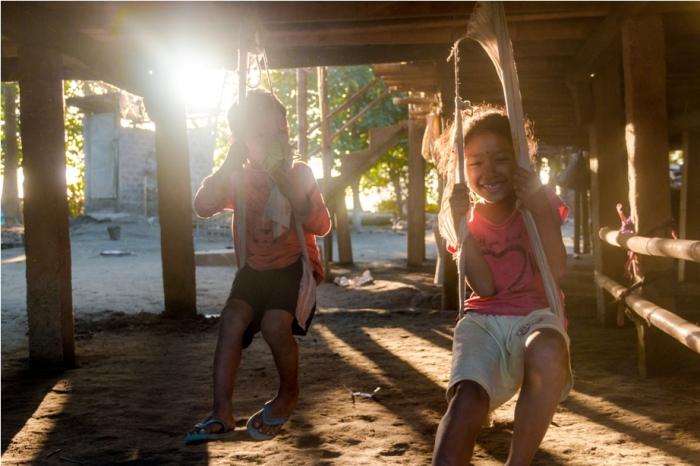 Kids Mishing Village Bamboo Homestay Majuli River Island Assam India