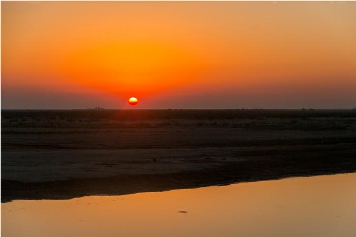Sunset Majuli River Island Assam India