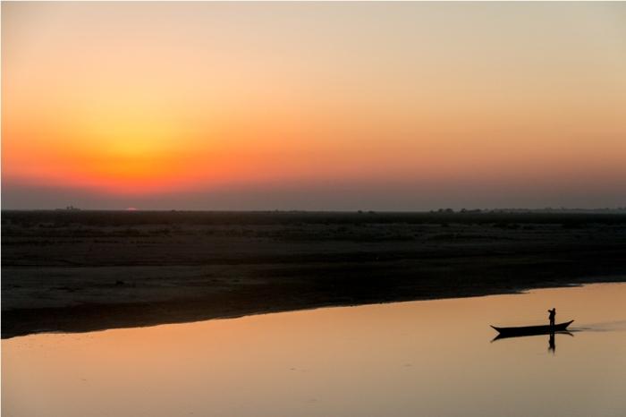 Sunset Sri Sri Auniati Satra Majuli River Island Assam India