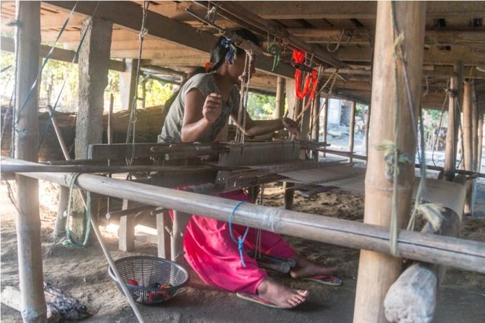 Weaver Mishing Village Bamboo Homestay Majuli River Island Assam India
