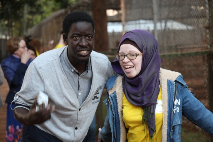 A visit to the park Pat and Miss Albinism Tanzania (2)